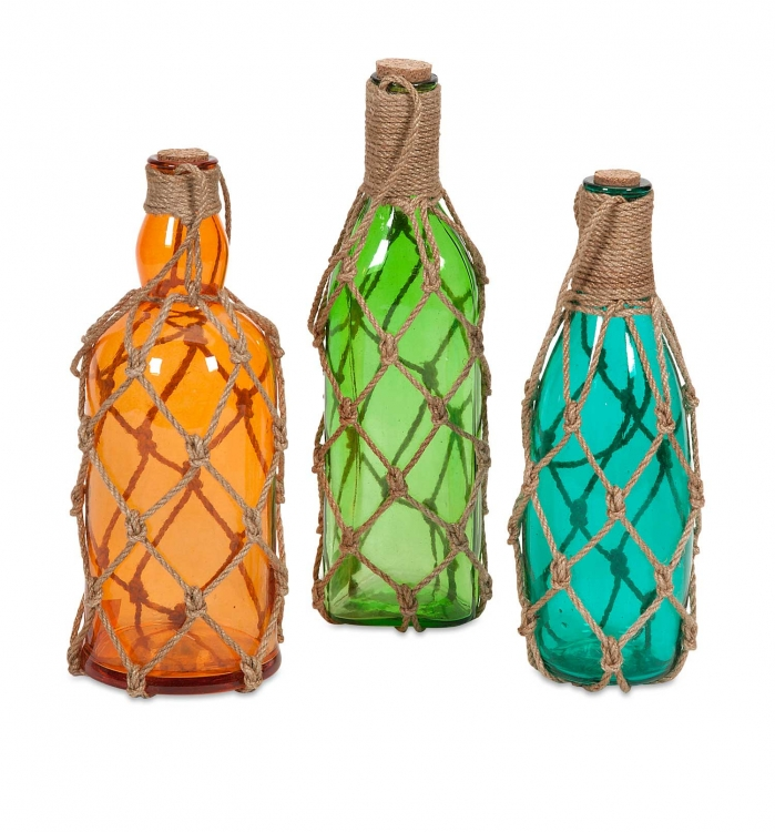 Williams Glass Bottles with Jute Hangers - Set of 3