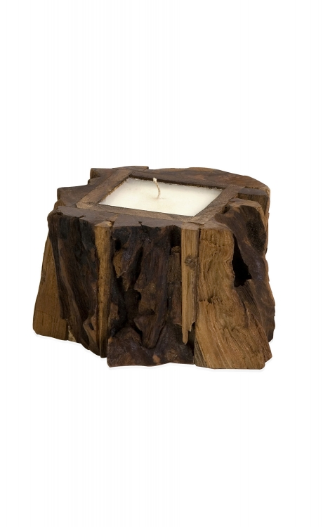 Small Teak Wood Candle