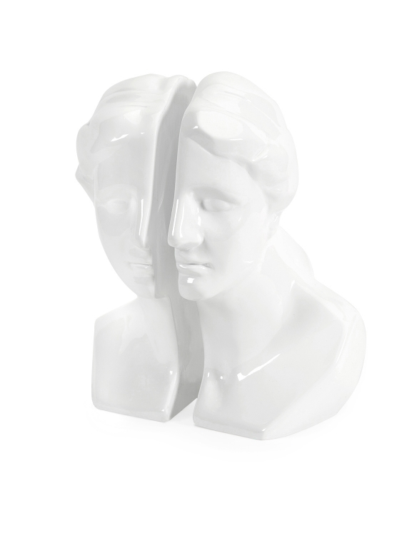 White Greek Lady Bookends - Set of 2