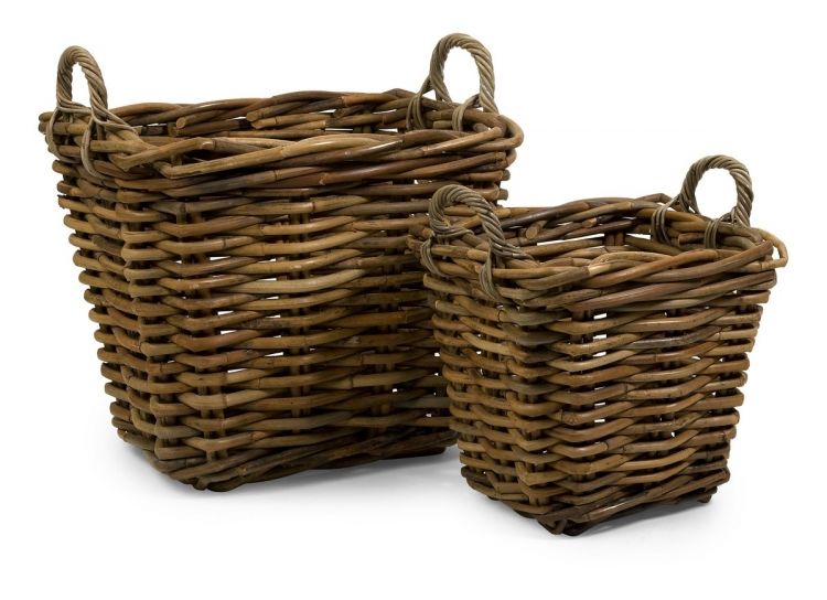 Capuchin Square Oversized Rattan Baskets - Set of 2
