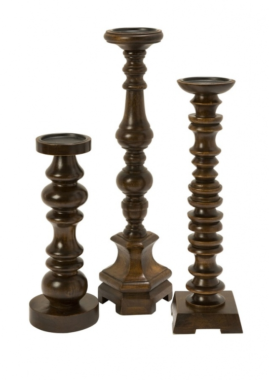 Nilay Wood Candleholders In Old Oak Finish - Set of 3