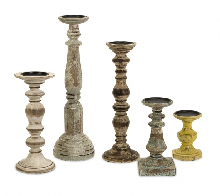 Kanan Wood Candleholders In Distressed Finishes - Set of 5