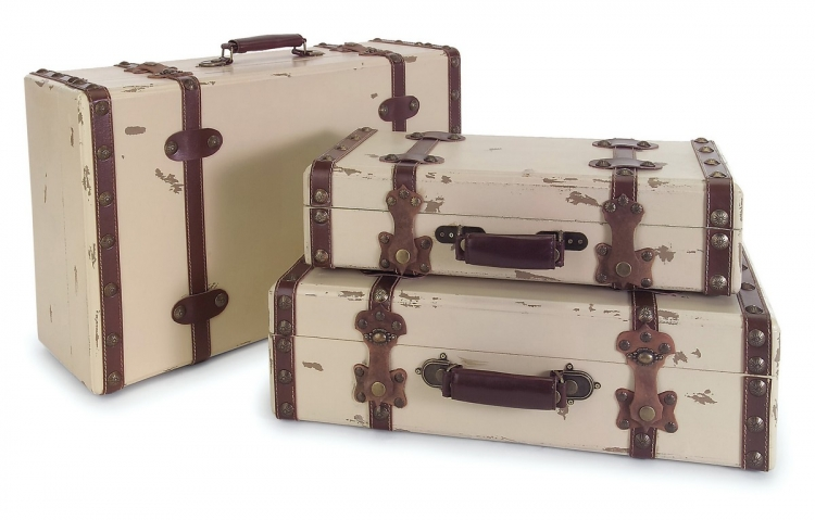 Antique Ivory Suitcases - Set of 3 - IMAX