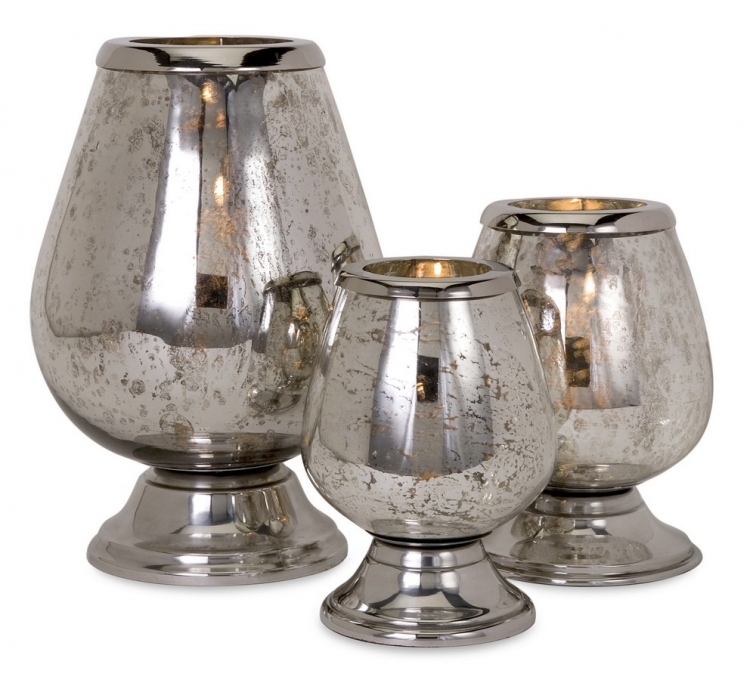 Round Mercury Glass Candleholders - Set of 3