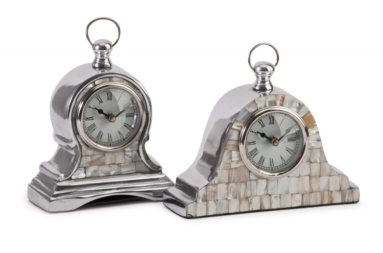 Aluminum Mother of Pearl Clock - Set of 2