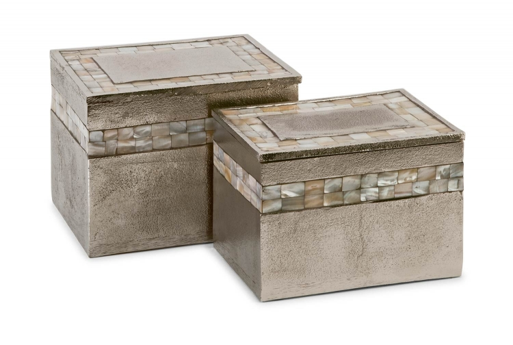 Hallowell Aluminum Mother of Pearl Boxes - Set of 2