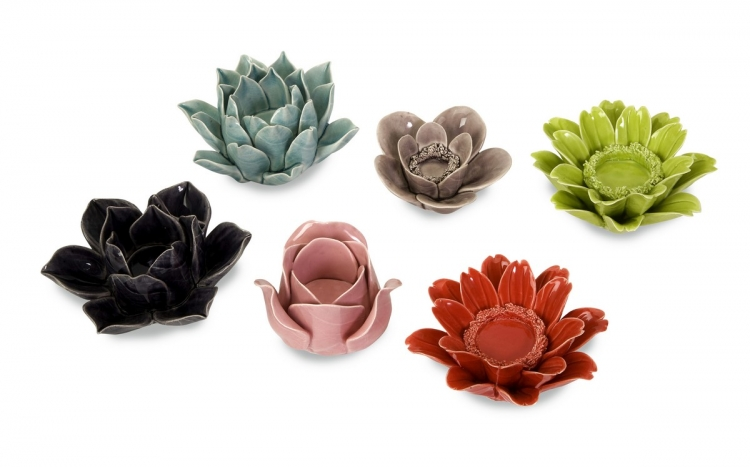 Leona Assorted Flower Candleholders - Set of 6 - IMAX