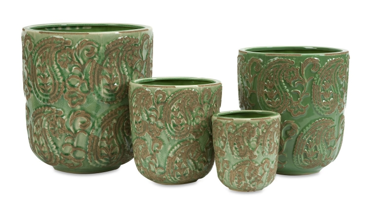 Paisley Green Planters - Set of 4