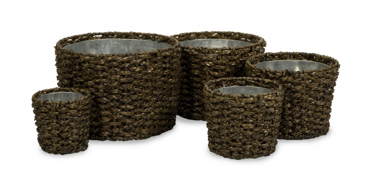 Saville Woven Planters with Zinc Insert - Set of 5 - IMAX