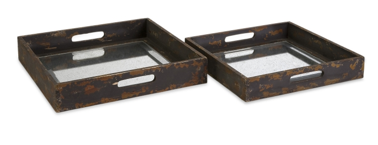 Corbin Mirrored Trays - Set of 2 - IMAX