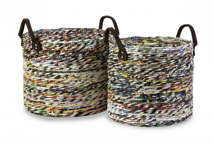 Alaina Recycled Magazine Baskets - Set of 2 - IMAX