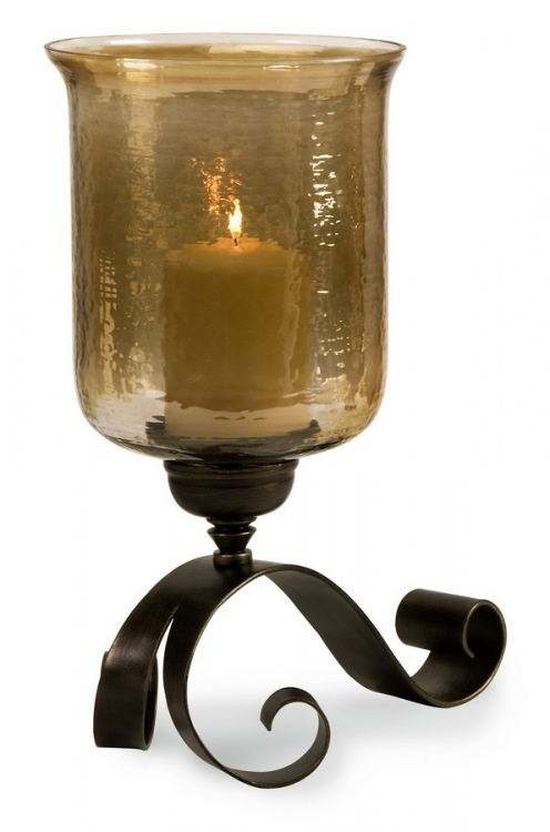 Large Scroll Base Hurricane with Brown Luster Glass