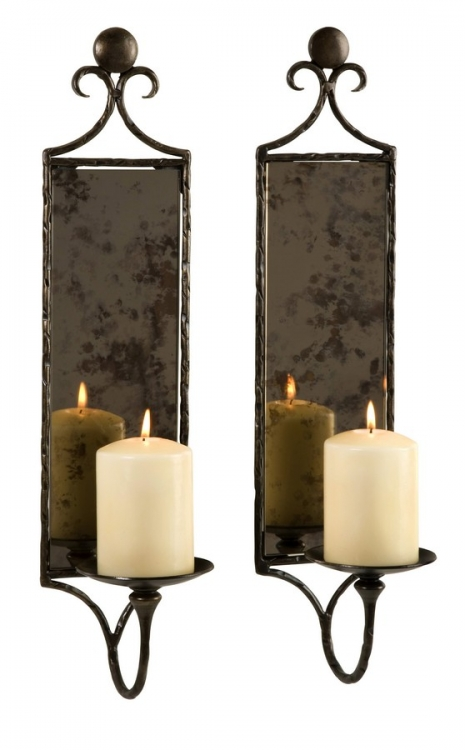 Hammered Mirror Wall Sconce - Set of 2