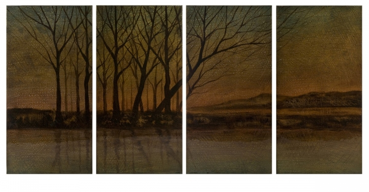 CK Sillouettes at Dusk Four Panel Oil Painting - IMAX