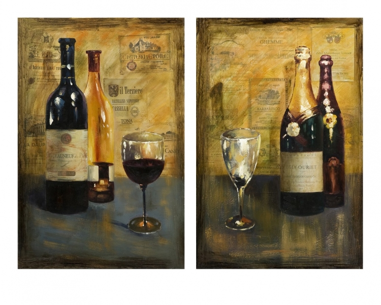 Corbeau Vino Oil Painting - Set of 2 - IMAX