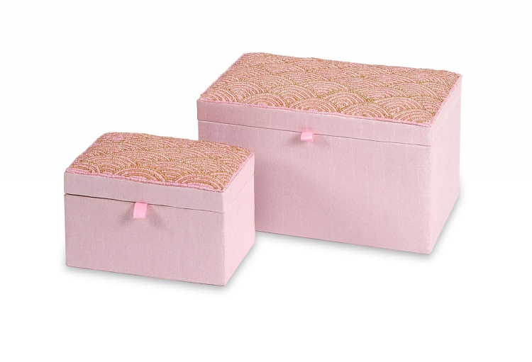 Beaded Pink Boxes - Set of 2
