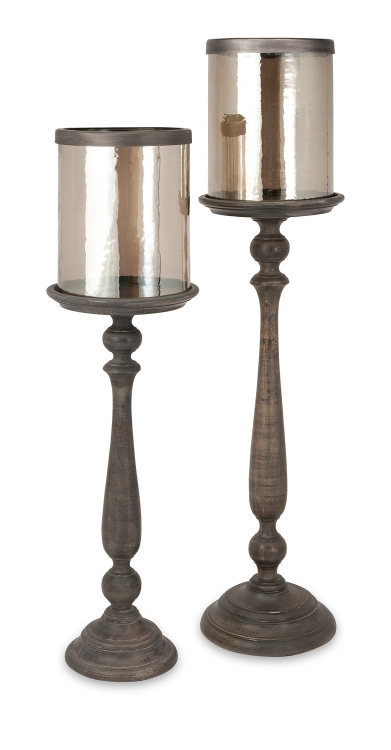 Parnel Floor Wood and Glass Candleholders - Set of 2