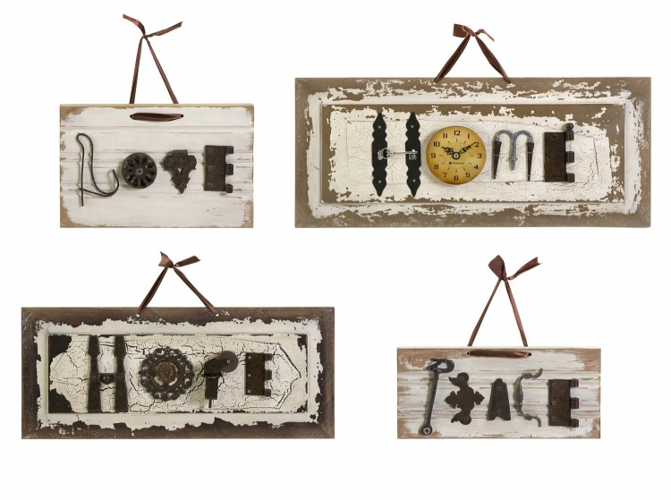 Bennett Found-Object Wall Plaques - Set of 4 - IMAX