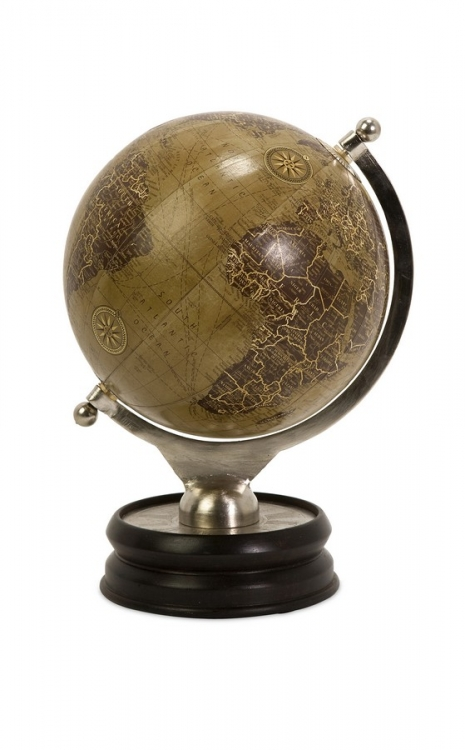 Colombo Large Globe With Nickel And Wood Base
