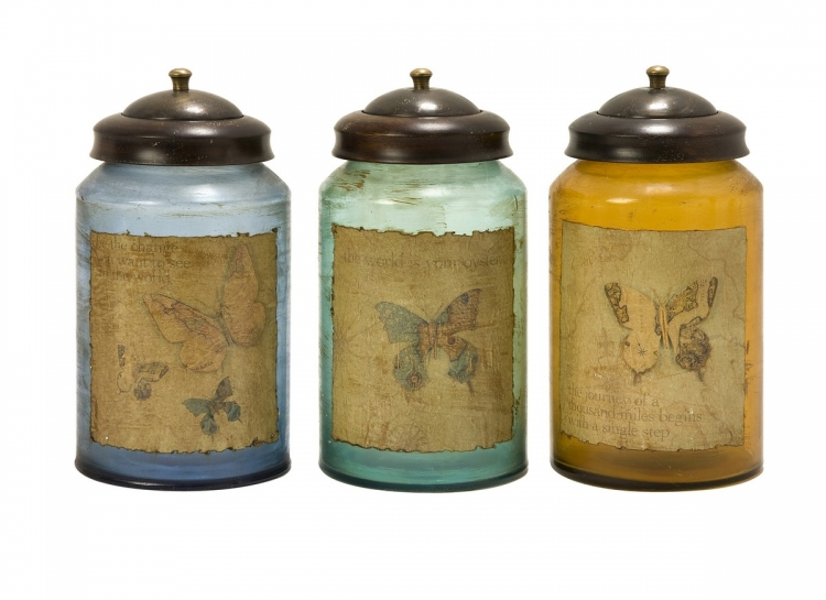 Worldly Butterfly Glass Canisters - Set of 3 - IMAX