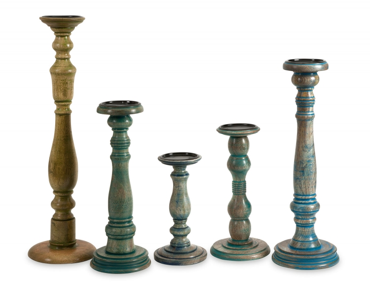 Levi Wood Candleholders - Set of 5