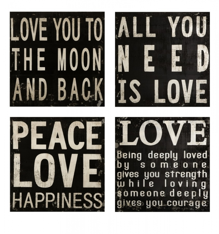 Collier Black and White Wall Quotes - Set of 4