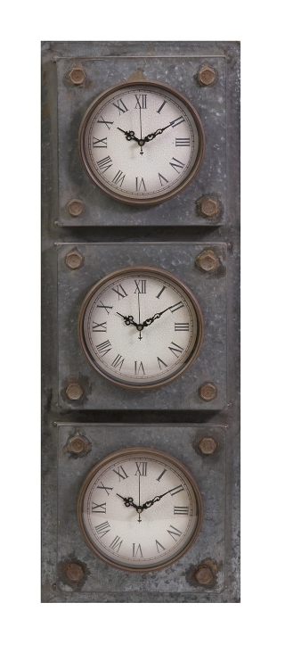 Gilbert Galvanized Triple Clock - IMAX