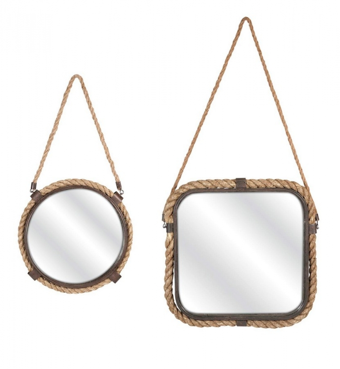 Molyneux Jute and Metal Mirrors - Set of 2