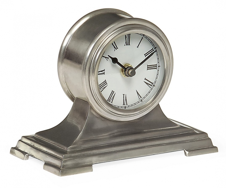 Small Pewter Finish Desk Clock