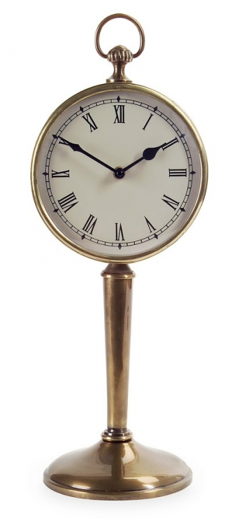 Antique Brass Pedestal Clock - IMAX