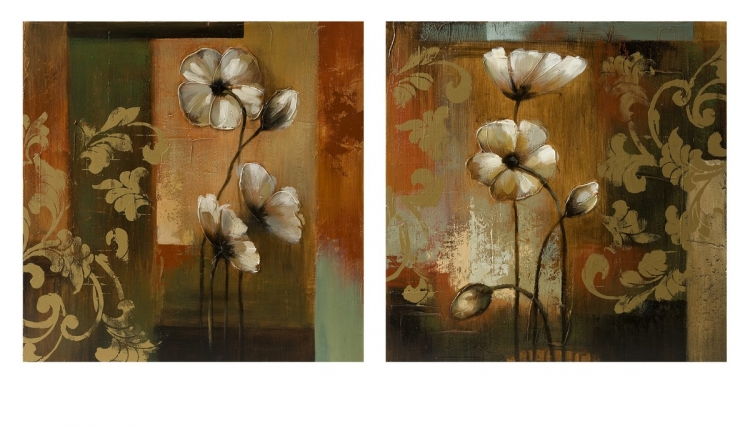 Damask Floral Oil On Canvas - Set of 2 - IMAX