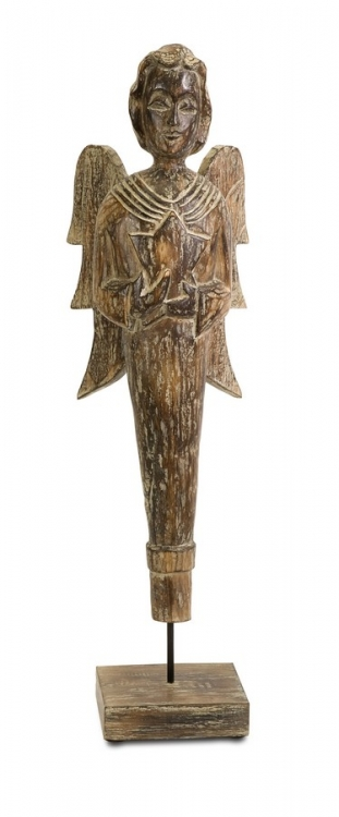 Amaka Wood Carved Standing Angel - IMAX