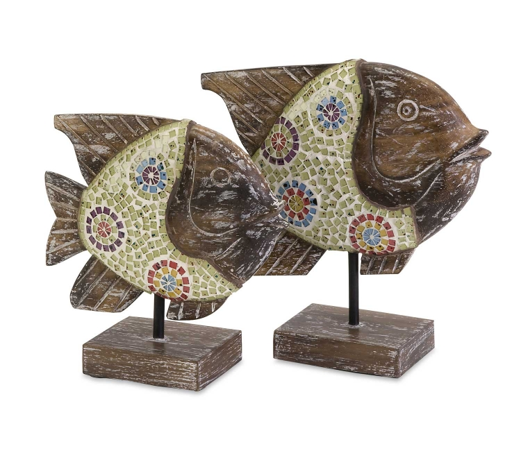 Kawela Mosaic Glass Fish - Set of 2 - IMAX