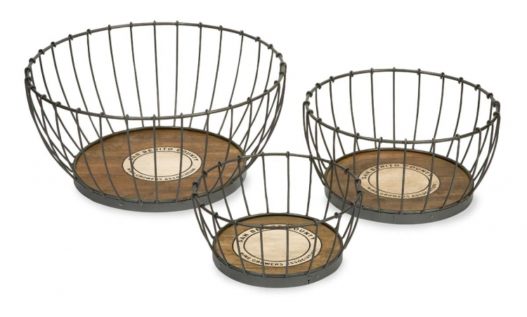Benito Wood and Metal Baskets - Set of 3