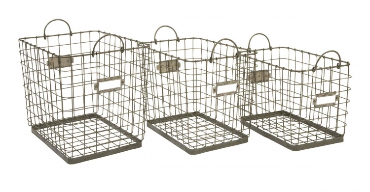 Newbridge Wire Storage Baskets - Set of 3 - IMAX