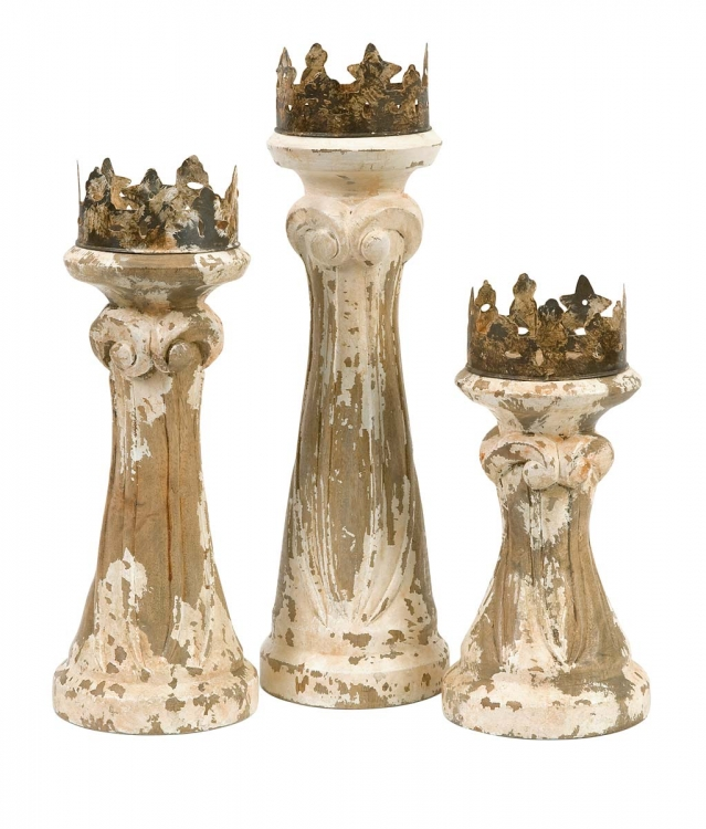 Feliciano Handcarved Wood Candleholders - Set of 3