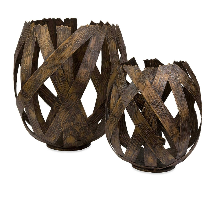 Dolcea Copper Finish Iron Candle Holders - Set of 2 - IMAX