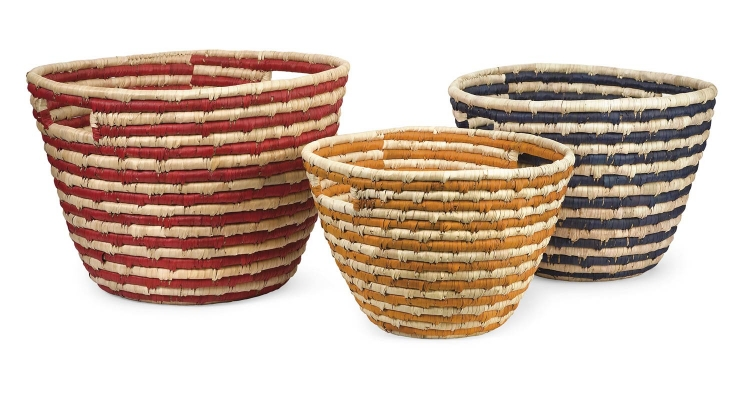 Carmen Sea Grass Catch-All Baskets - Set of 3