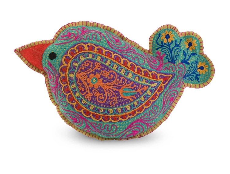 Early Bird Embroidered Pillow - IMAX