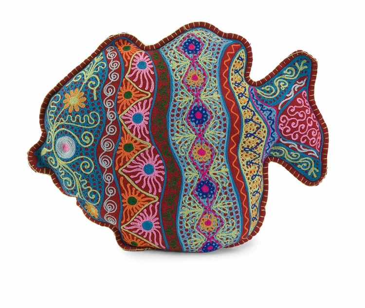 Splash Fish Embroidered Pillow - IMAX
