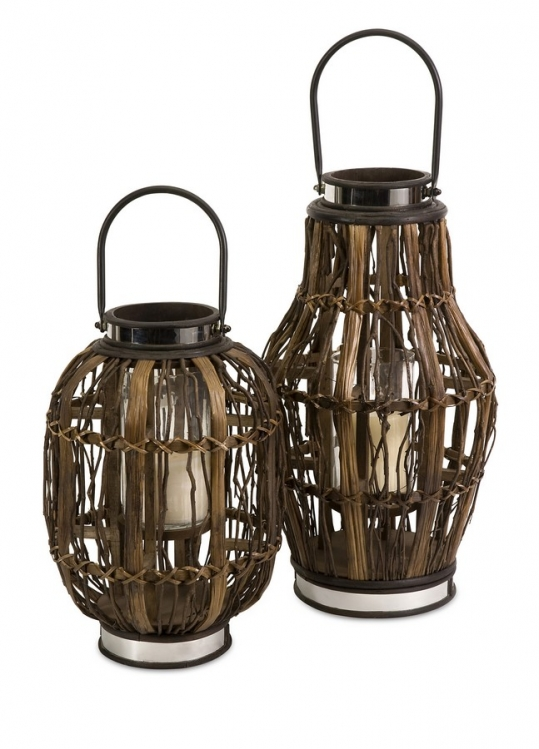 Saeran Candle Hurricane Lantern - Set of 2 - IMAX