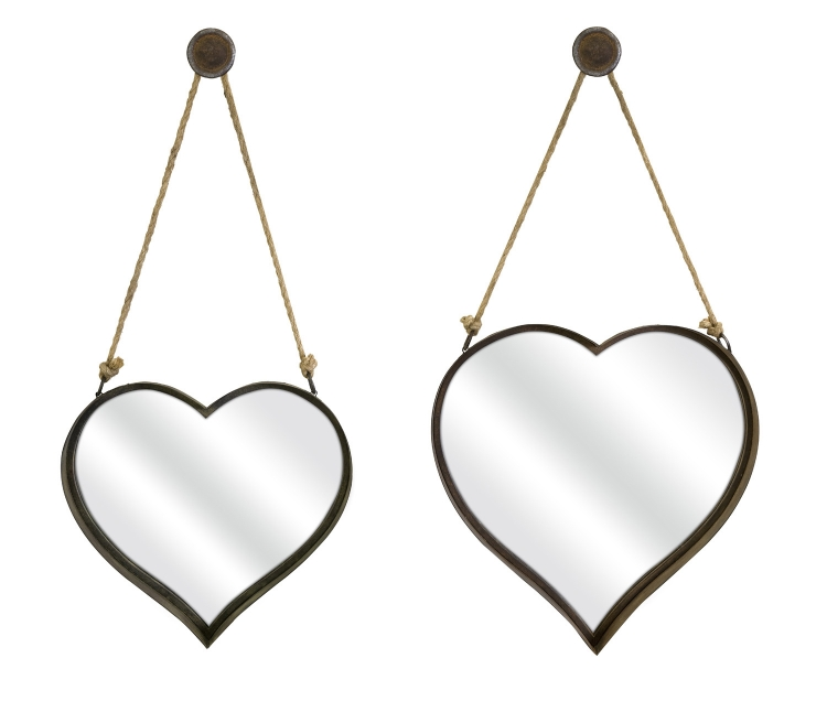Heart Shape Wall Mirror - Set of 2