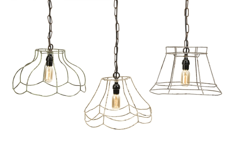 Crestly Wire Lamp Shade Pendants - Set of 3