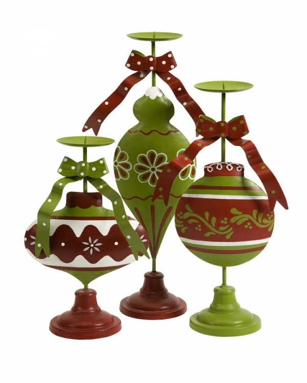 Holly Jolly Candle Holders - Set of 3 - IMAX