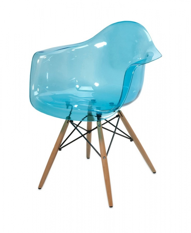 Declan Teal Blue Transparent Chair with Wood Leg