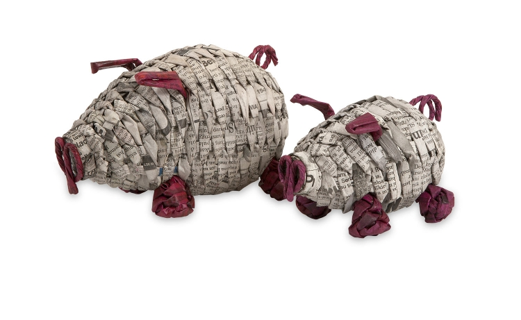 Paulina Recycled Newspaper Piggies - Set of 2