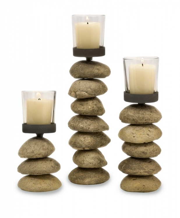 Cairn Candleholders with Glass Votive Cup - Set of 3