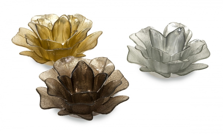 Hanna Glass Floral Votives - Set of 3
