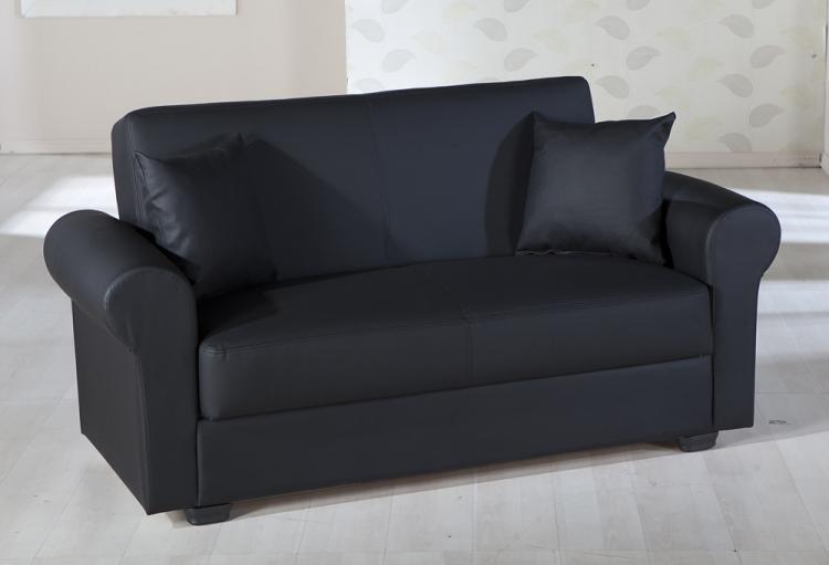 Floris Sleeper Love Seat - Escudo Black