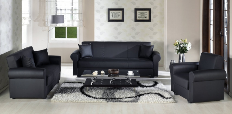 Floris Living Room Set - Escudo Black